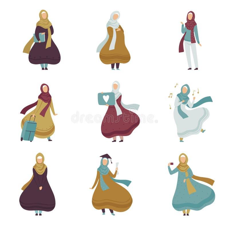 Мусульманские женщины в различных ситуациях установили, арабские женщины в традиционной иллюстрации вектора одежды иллюстрация штока