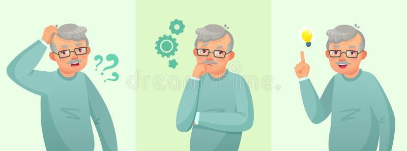 Мысль деда Пожилым вопрос разрешенный человеком, внимательный старший мужчина и смущенные вектора старые люди концепции мультфиль иллюстрация вектора