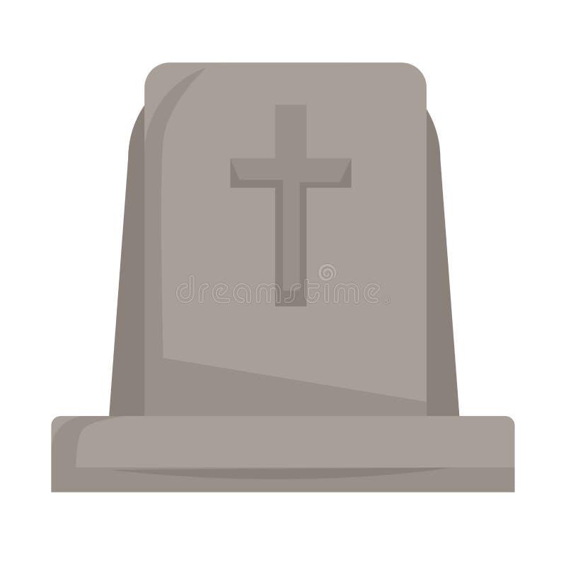 Могильный камень или надгробная плита со смертью и похоронами изолированными крестом серьезными бесплатная иллюстрация