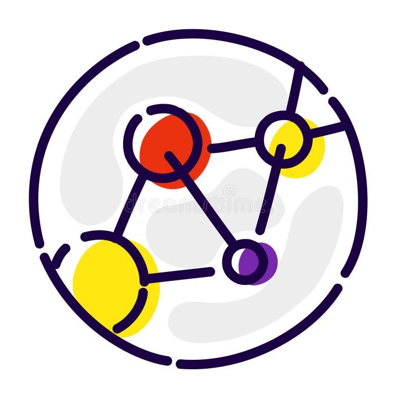Молекулы, атомы, ДНК Значок вектора плоский решетка молекулярная Изображение изолировано на белой предпосылке Значок химических э иллюстрация штока