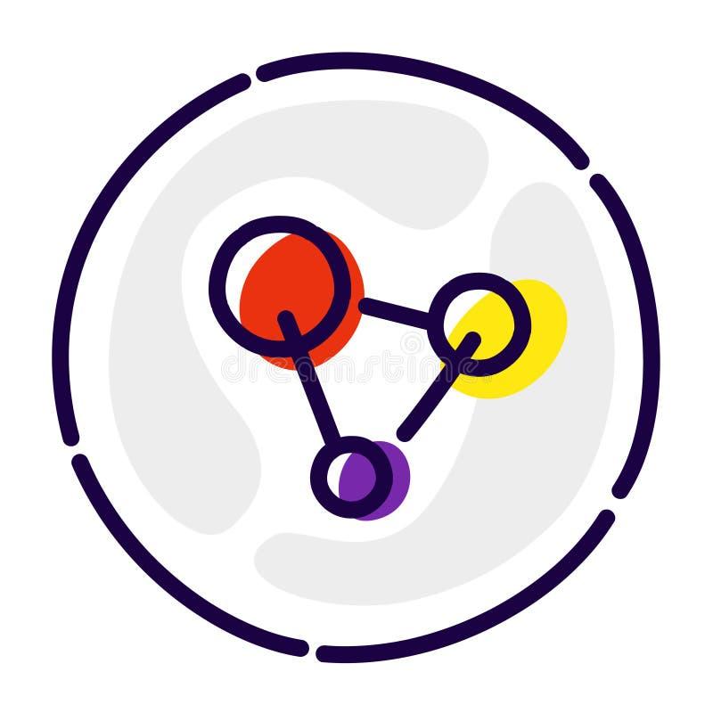 Молекулы, атомы, ДНК Значок вектора плоский решетка молекулярная Изображение изолировано на белой предпосылке Сочетание из 3 бесплатная иллюстрация