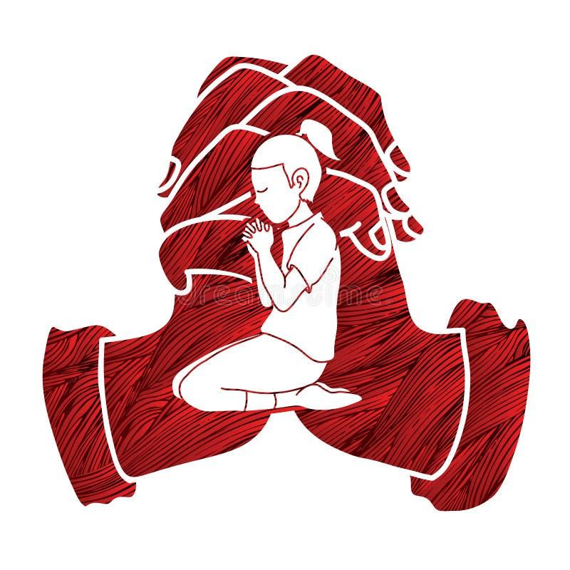 Молитва маленькой девочки, хваление к лорду иллюстрация штока