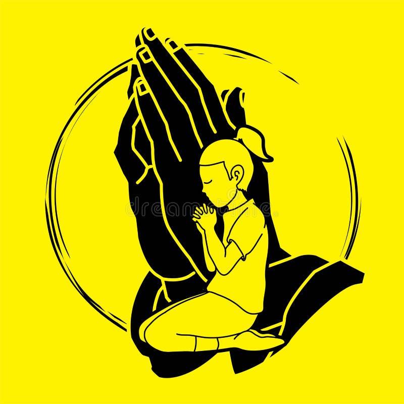 Молитва маленькой девочки, хваление к лорду иллюстрация вектора