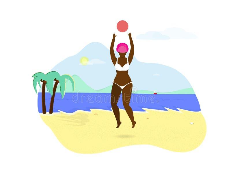 Молодая африканская девушка играя с шариком на пляже иллюстрация штока
