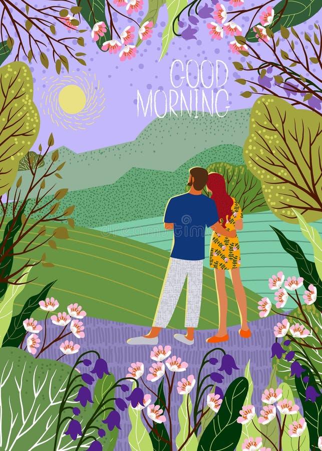 Молодая пара встречает новый день Восход солнца, холмы, цветки, деревья, естественный ландшафт в ультрамодном плоском стиле Верти иллюстрация штока