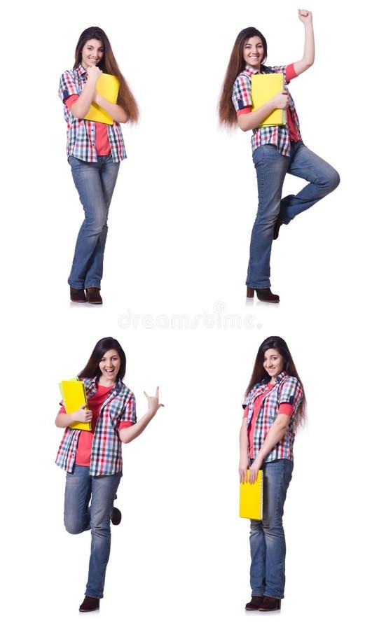 Молодая студентка изолированная на белизне стоковые изображения rf