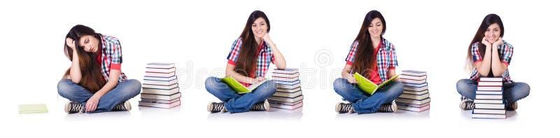 Молодая студентка изолированная на белизне стоковые фотографии rf