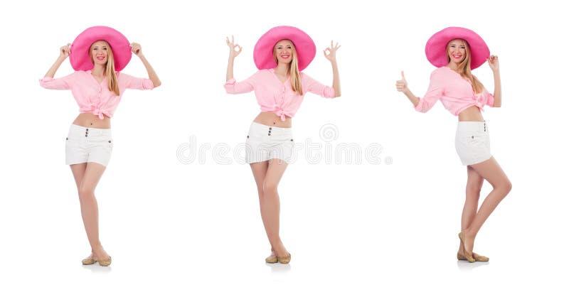 Молодая танцуя модель в шляпе Панамы изолированной на белизне стоковое фото
