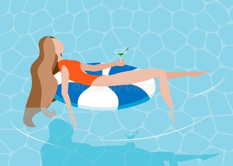 Молодое длинн-с волосами sunbath девушки на кольце в бассейне Летние каникулы, концепция вечеринки у бассейна также вектор иллюст иллюстрация вектора
