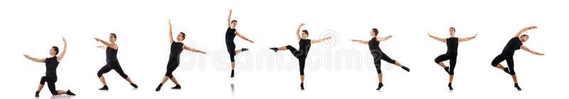 Молодой танцор изолированный на белизне стоковая фотография rf