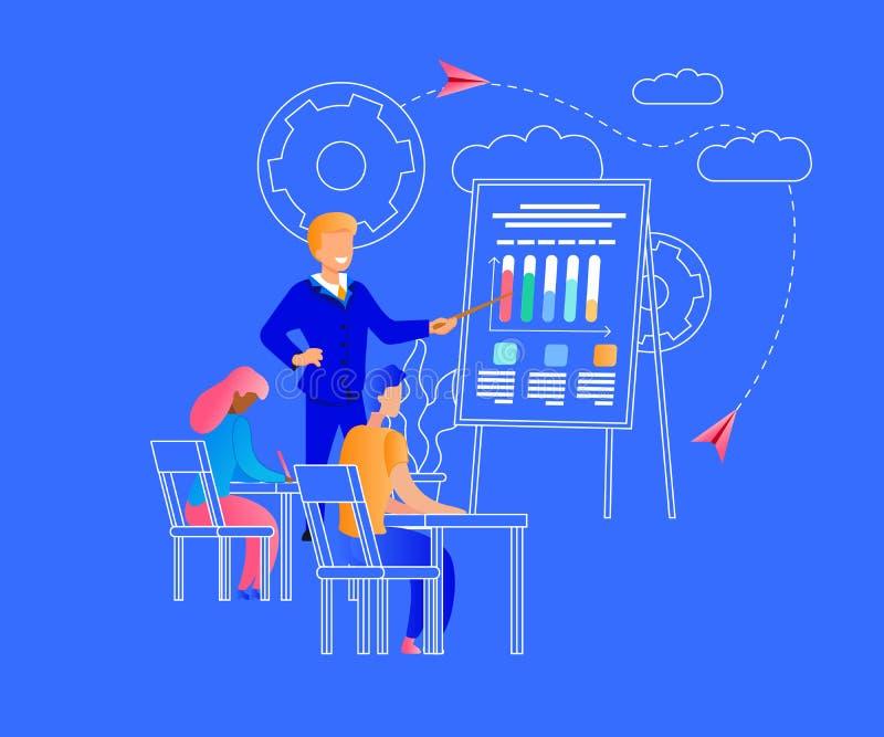 Молодой человек и женщина уча на семинаре дела иллюстрация вектора