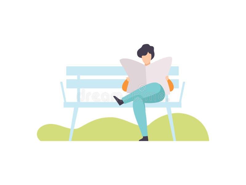 Молодой человек сидя на Суде и читая газету в парке, Гай ослабляя и наслаждаясь иллюстрацию вектора Outdoors природы иллюстрация штока