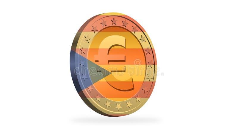 Монетка евро с флагом независимости Каталонии иллюстрация вектора