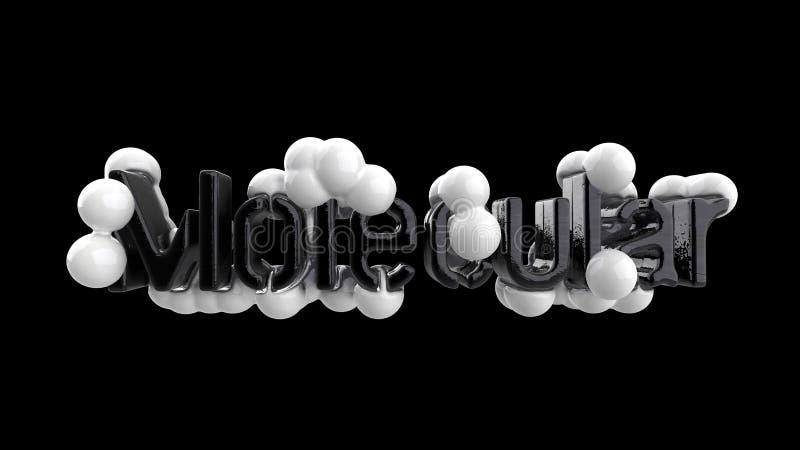 Модель абстрактной молекулярной структуры с литерностью слова в ультрамодных черно-белых цветах Изолировано на черной предпосылке бесплатная иллюстрация