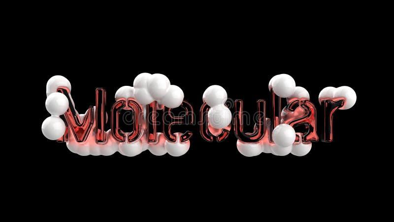 Модель абстрактной молекулярной структуры с литерностью слова сделанной красным стеклом и белыми сферами Изолировано на черноте бесплатная иллюстрация