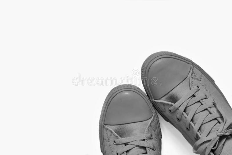 Модный крупный план ботинок спортзала на белой предпосылке стоковая фотография rf