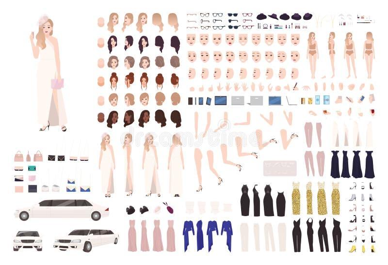 Модный набор анимации женщины знаменитости или набор DIY Пачка элементов тела, жестов, позиций, стильного вечера бесплатная иллюстрация
