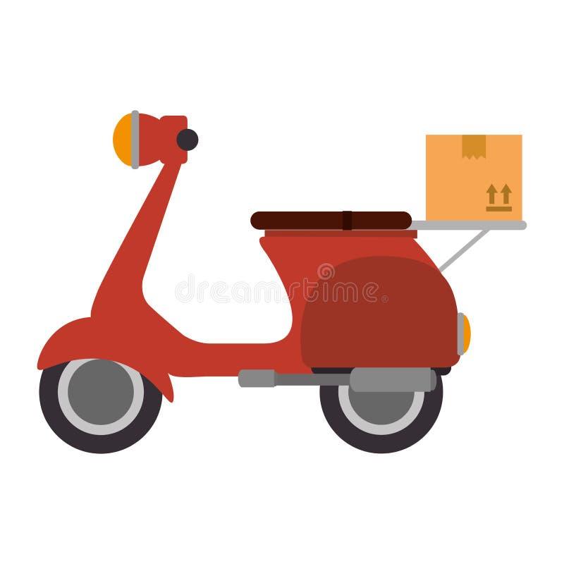 Мотоцикл скутера с коробкой бесплатная иллюстрация