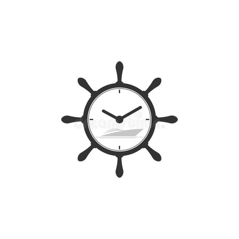 Морской символ с символом яхты и часов иллюстрация штока