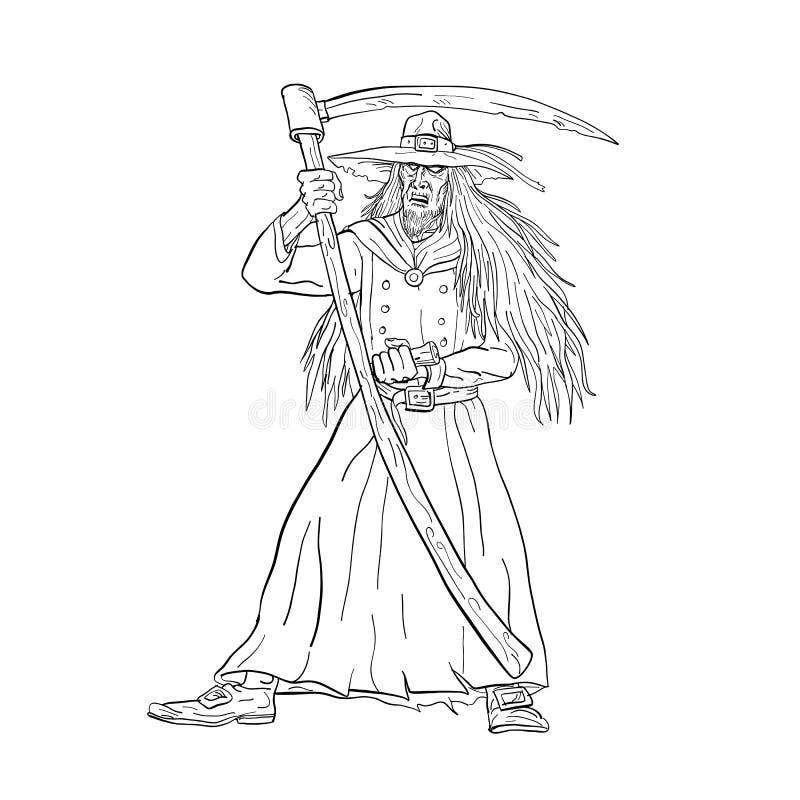 Наблюдатель погоста Ankou с чертежом косы черно-белым бесплатная иллюстрация