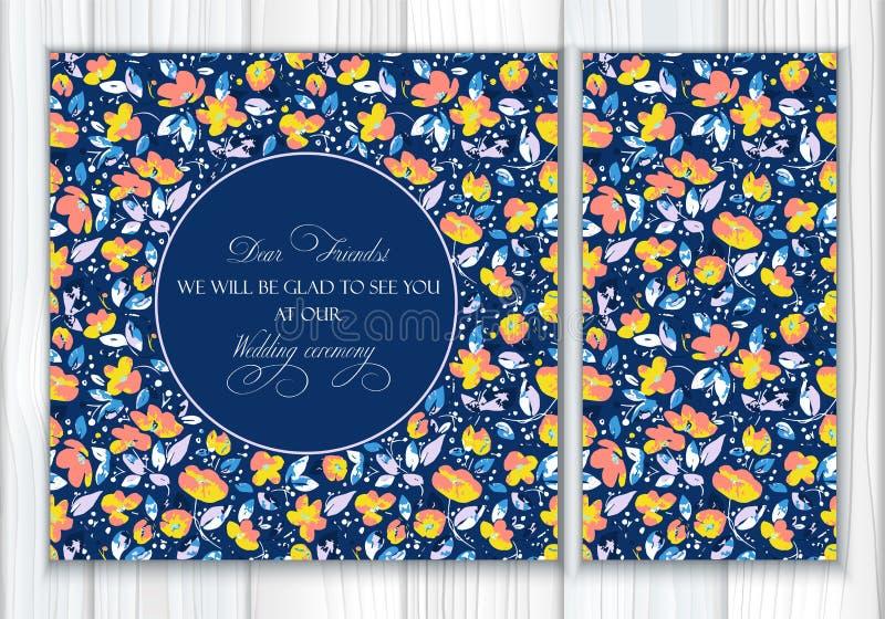 Набор вектора безшовных картины и поздравительной открытки или приглашения с прекрасным абстрактным кораллом, желтые цветки и син иллюстрация штока