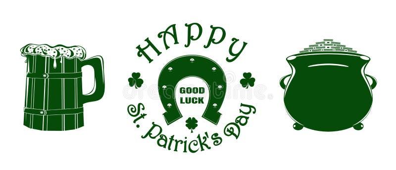 Набор значка вектора зеленого цвета дня St Patricks бесплатная иллюстрация
