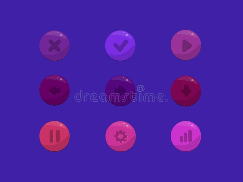 Набор значка кнопок запаса вектора красочный округленный иллюстрация штока