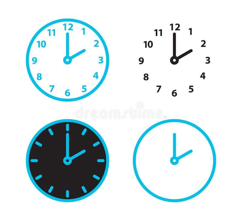 Набор значка часов, набор иллюстрации часов вектора времени, символ времени, знак будильника Дозор, план иллюстрация вектора