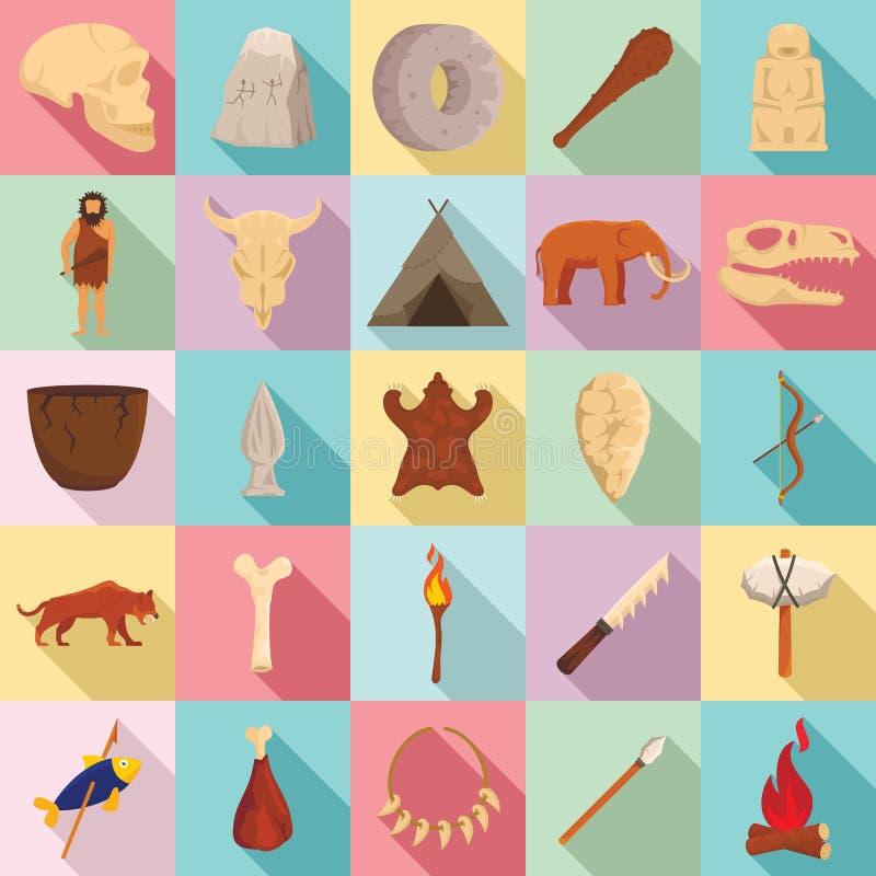 Набор значков каменного века, плоский стиль иллюстрация вектора