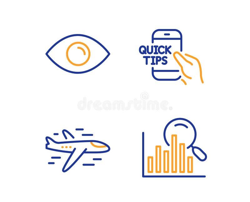 Набор значков самолета, глаза и образования Знак поиска Самолет, взгляд или зрение, быстрые подсказки аналитичности вектор бесплатная иллюстрация