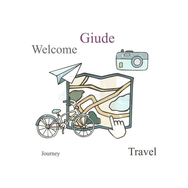 Набор идеи проекта карты со стилем grunge иллюстрации вектора навигации телефона, велосипеда, рюкзака и мира плоскими изолированн бесплатная иллюстрация