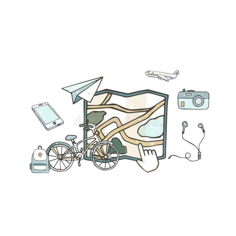Набор идеи проекта карты со стилем grunge иллюстрации вектора навигации телефона, велосипеда, рюкзака и мира плоскими изолированн иллюстрация штока