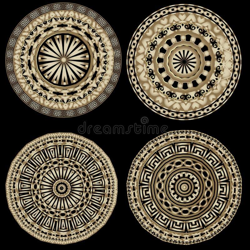 Набор картин мандалы вектора богато украшенного круга греческий Флористические греческие ключевые орнаменты меандра Геометрически бесплатная иллюстрация