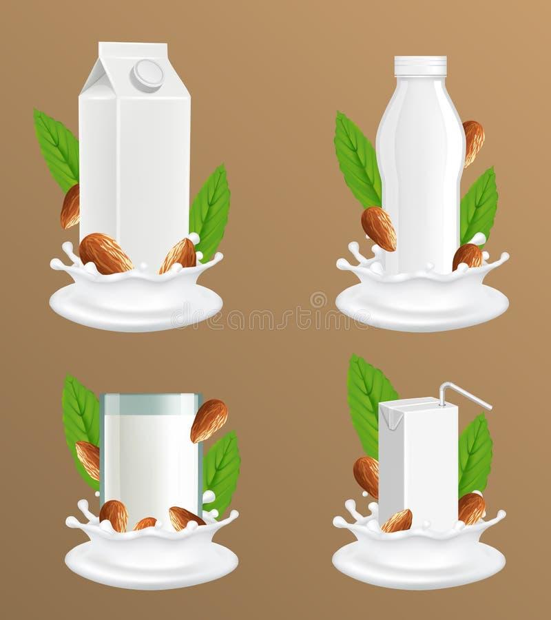 Набор модель-макета вектора пакета молока миндалины реалистический иллюстрация штока