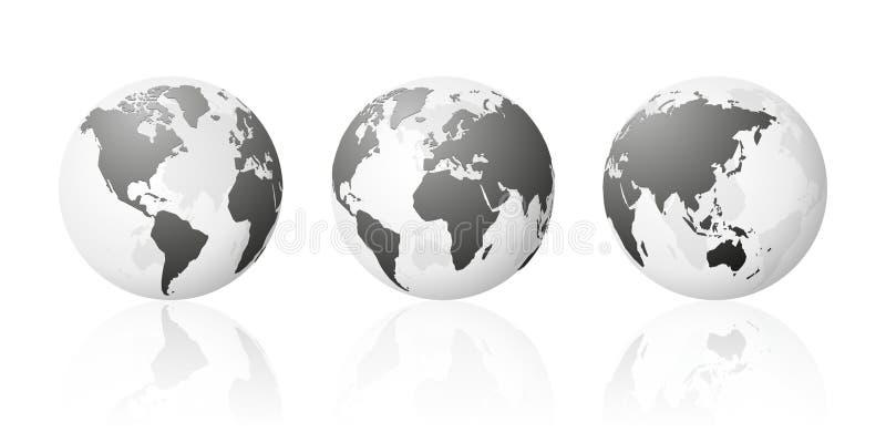 Набор прозрачной земли планеты карт глобуса мира металлический серебряный иллюстрация штока