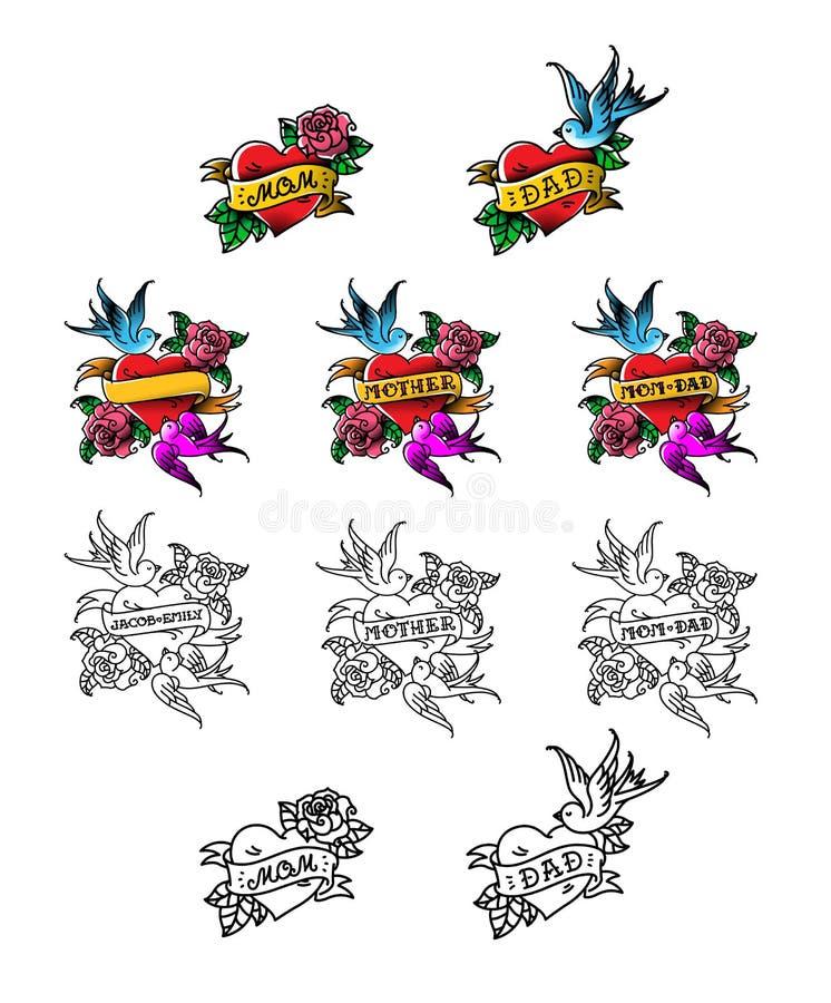 Набор поздравительных татуировок для мамы и папы Сердце с птицами и цветками Опознавание любов для родителей Шаблоны для бесплатная иллюстрация