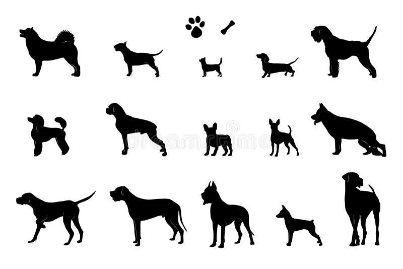 Набор силуэтов 15 различных собак, косточки и следа ноги вектор бесплатная иллюстрация