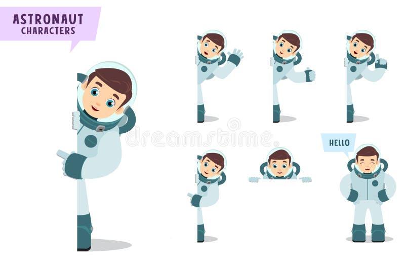 Набор символов вектора астронавтов Персонаж из мультфильма космонавта говоря и показывая пустую белую доску иллюстрация штока
