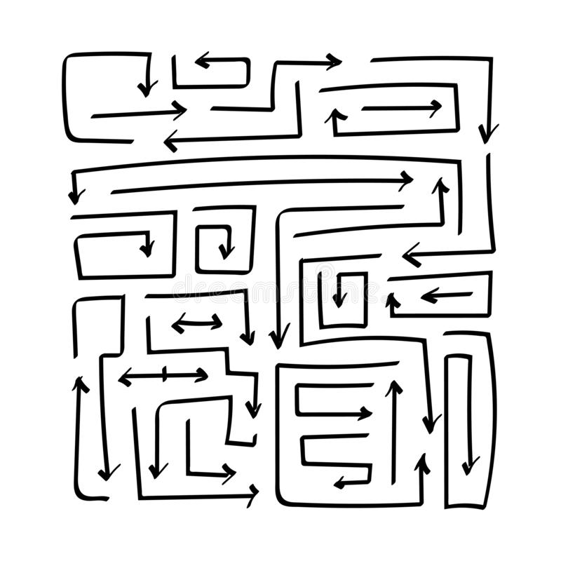 Набор стрелок эскиза вектора плоский Квадрат прямоугольный иллюстрация вектора
