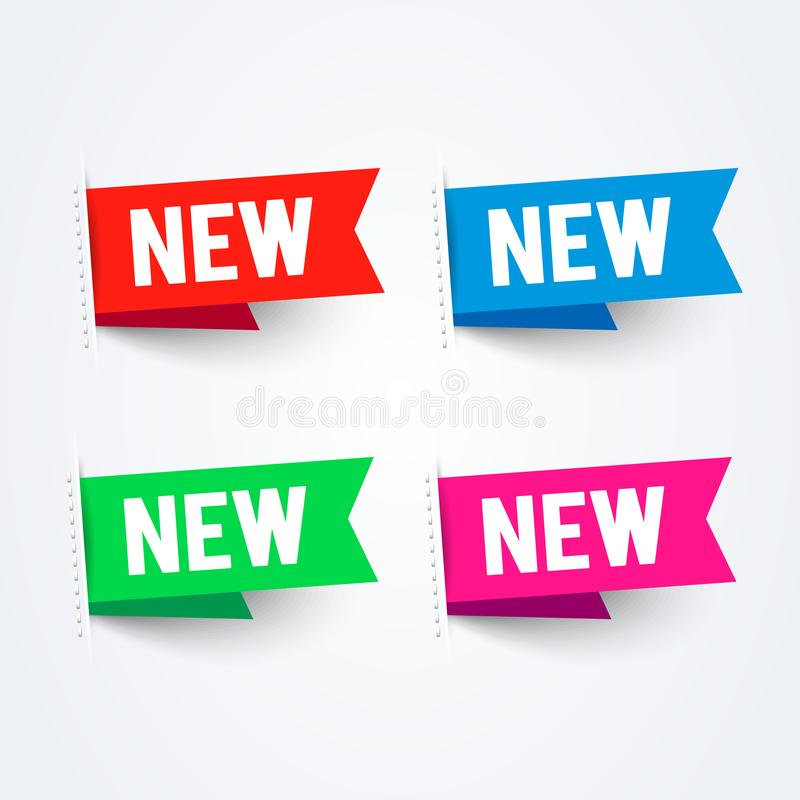 Набор ярлыков вектора яркий новый Красочное собрание флага бесплатная иллюстрация
