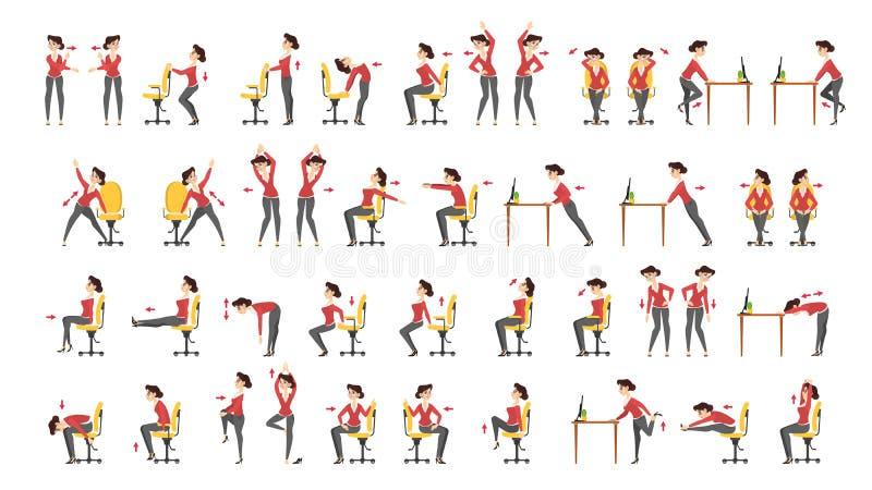 Набор тренировки офиса Разминка тела для офиса иллюстрация вектора