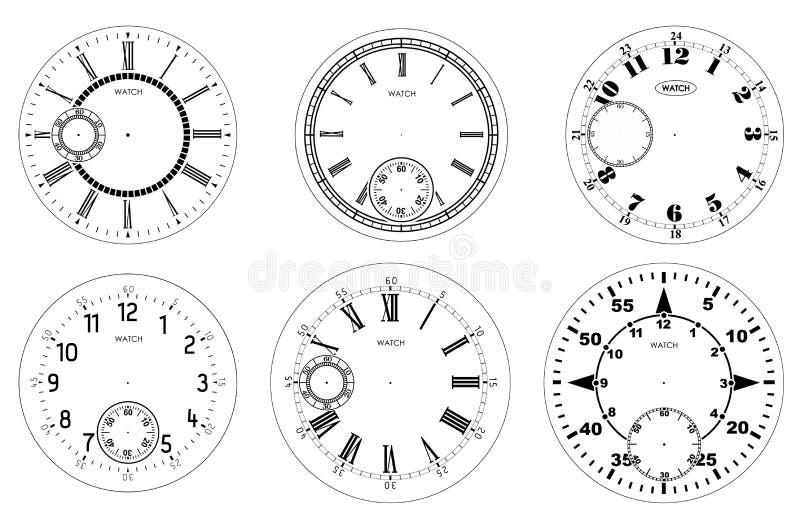 Набор циферблата пустой изолированный на белой предпосылке Дизайн дозора вектора Винтажная римская числительная иллюстрация часов иллюстрация вектора
