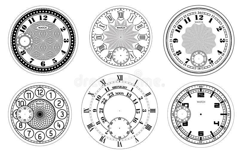 Набор циферблата пустой изолированный на белой предпосылке Дизайн дозора вектора Винтажная римская числительная иллюстрация часов иллюстрация штока