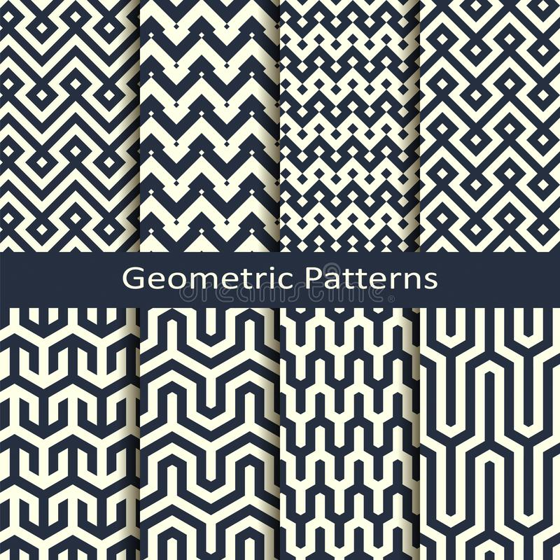 Vector set with eight seamless geometric patterns. design for covers, wrapping, interior stock illustration