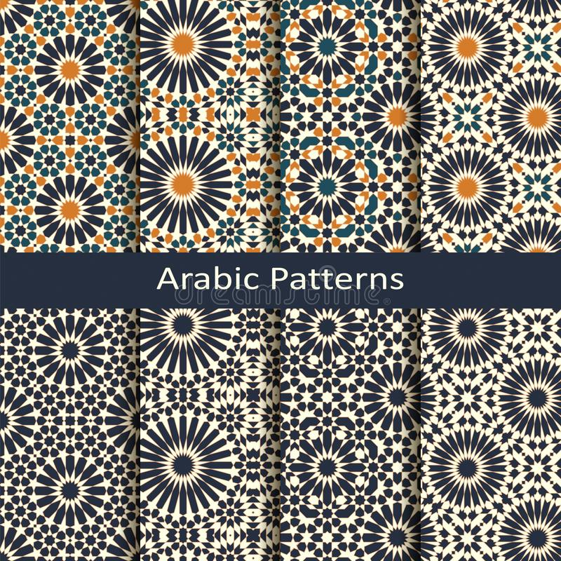 Set of eight seamless vector arabic geometric patterns. design for packaging, covers, interiors vector illustration