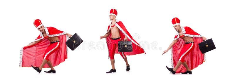Нагой бизнесмен короля изолированный на белизне стоковое изображение rf