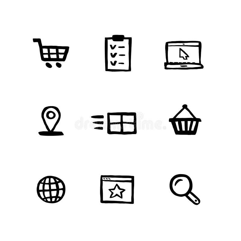 Наивный набор значка покупок стиля Электронная коммерция, онлайн покупки и стиль чернил Doodle доставки установили значков Нарисо иллюстрация штока