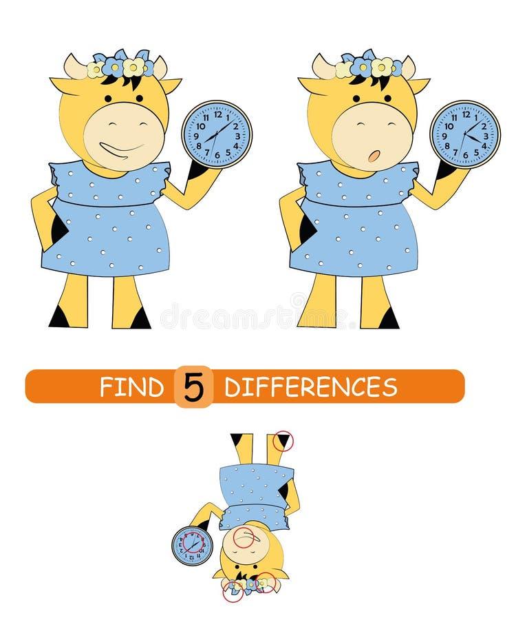 Найдите разницы между изображениями Игра мультфильма вектора воспитательная корова милая иллюстрация вектора