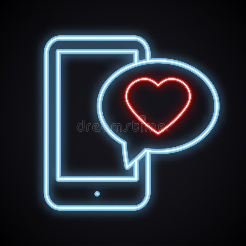 Накаляя неоновый телефон с красным сообщением emoji сердца на экране Яркий светлый знак любов иллюстрация штока