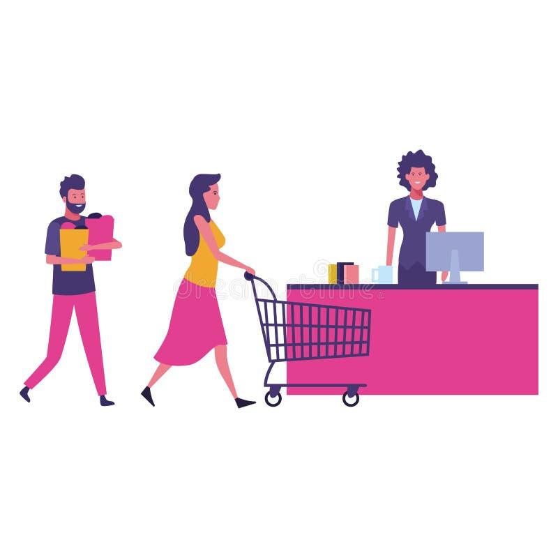 Наличные деньги и клиенты супермаркета с корзиной бесплатная иллюстрация